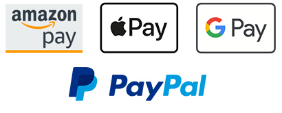 Fast and secure payment with credit card, Amazon Pay, Apple Pay, Google Pay or PayPal
